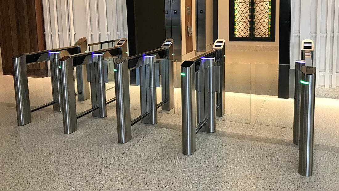 SlimLane EPR swing glass Optical Turnstile with QR Bar Code Reader and Elevator Destination Dispatch Screen